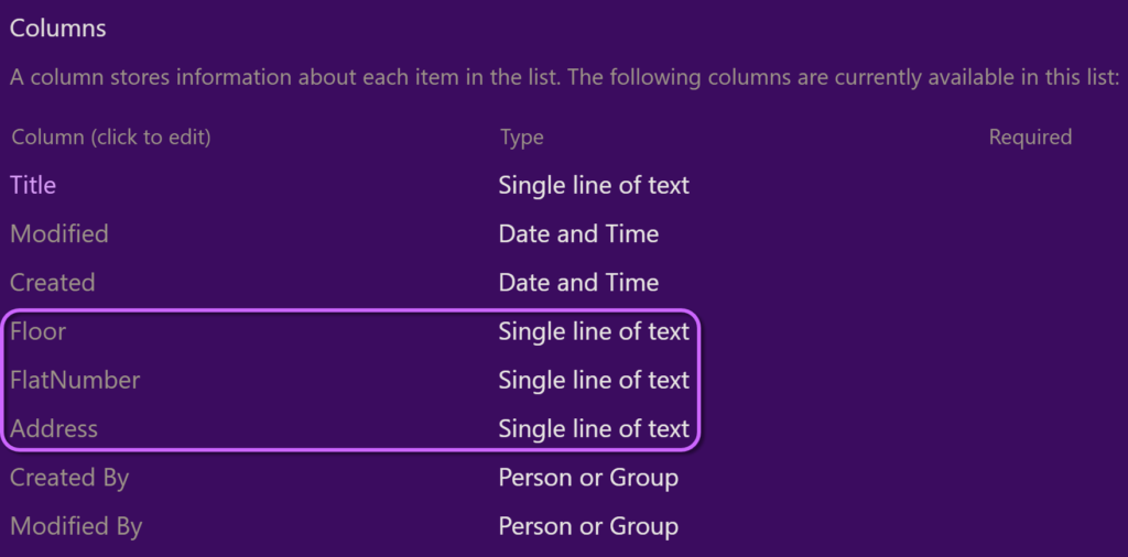 the columns being used for the html export